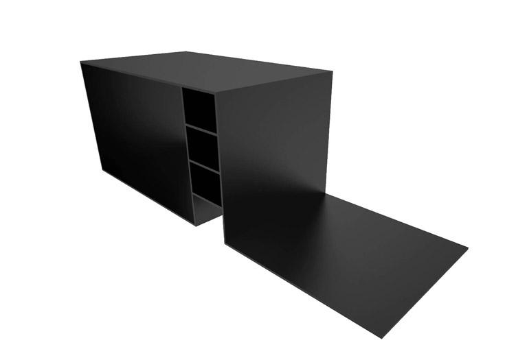 black desk - black corian - 240x80x78cm - unique piece: www.eleftherios-art.com/index.php?t=gallery&id=black-desk
